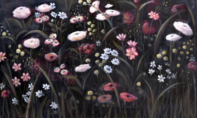Blommor i natten 100x60cm - inspiration from Sandro Botticello