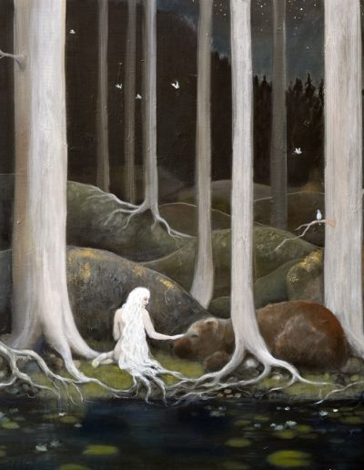 The woods are lovely, dark and deep 100x100cm - inspiration, John Bauer