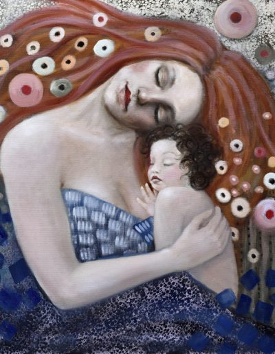 Älskade barn 80x80cm - inspired by Klimt
